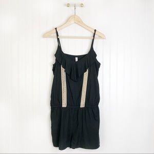 Black sleeveless romper shorts ruffles XL